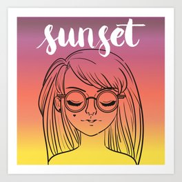 Sunset Girl Art Print