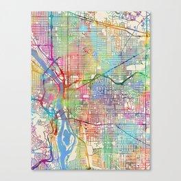Portland Oregon City Map Canvas Print