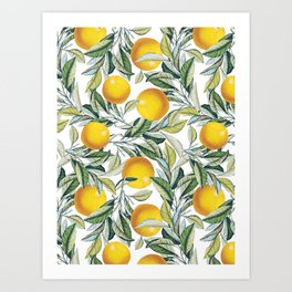 Lemon and Leaf Pattern VI Art Print