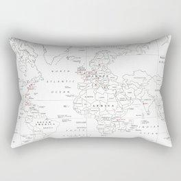Popular World Marathons Map [Black and White] Rectangular Pillow