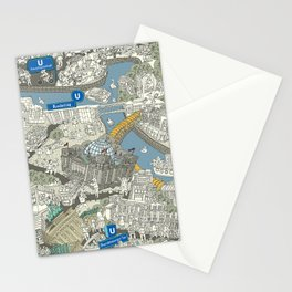 Illustrated map of Berlin-Mitte. Green Stationery Cards