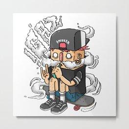 boy scooter smoking Metal Print