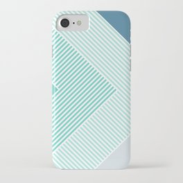 Teal Vibes - Geometric Triangle Stripes iPhone Case