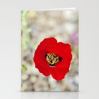 israel Stationery Cards featuring Vibrant Red Poppy, Israel by Kim Lucian Photography