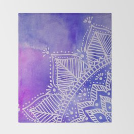 Mandala flower on watercolor background - purple and blue Throw Blanket