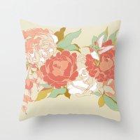 party Throw Pillows featuring garden party by Teagan White
