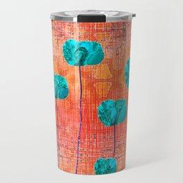 Vintage Poppy Flower Abstract Travel Mug