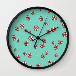 Peppermint Candy in Aqua Wall Clock