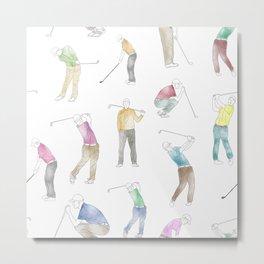 Watercolor Golfers Metal Print
