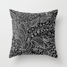 Leaves and Berries Black White Pattern Throw Pillow