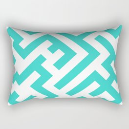 White and Turquoise Diagonal Labyrinth Rectangular Pillow