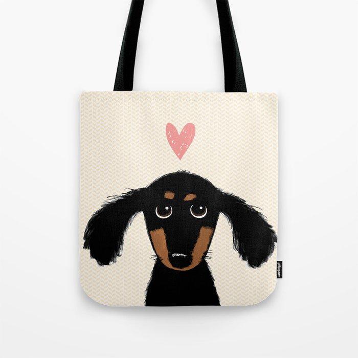 Dachshund Love | Cute Longhaired Black and Tan Wiener Dog Tote Bag