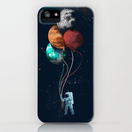 Balloon astronauts and planet iPhone Case