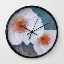 White poppies(2) Wall Clock