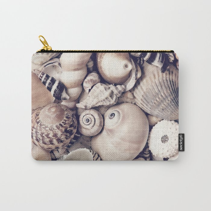 Vintage  Sea Shell Collection Coastal Style Carry-All Pouch