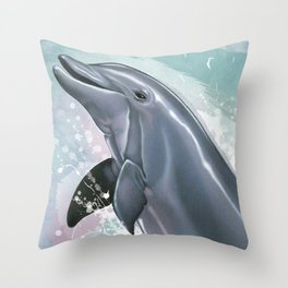 Bottlenose Dolphin In Joy Throw Pillow