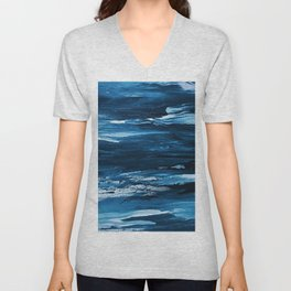 Blue Brush Strokes (Color) Unisex V-Neck