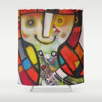 instagram Shower Curtains featuring Miss Instagram  by SheThinksinColors