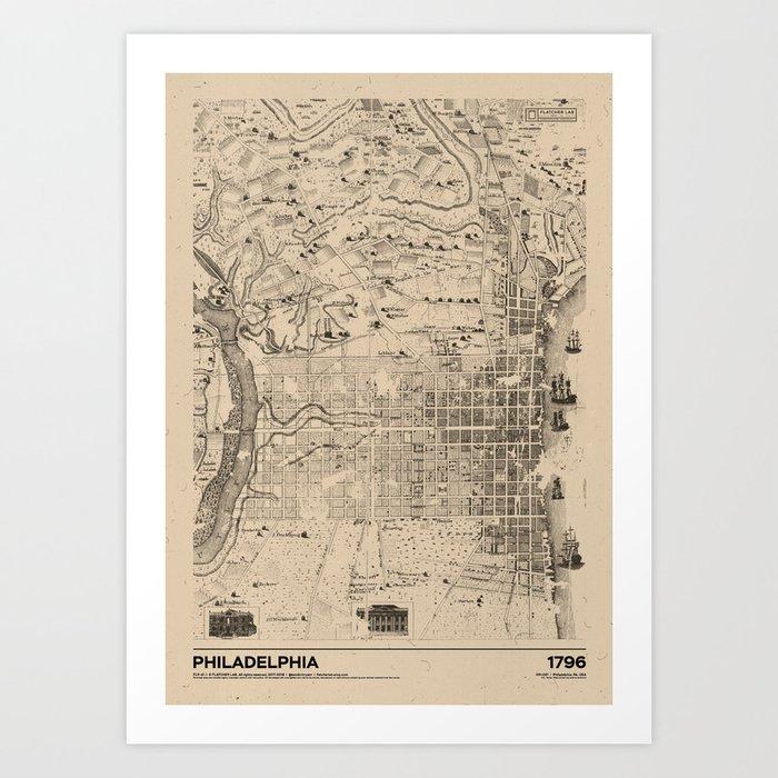 Philadelphia 1796 - Old Vintage USA Map Art Print by flatcherlab ...