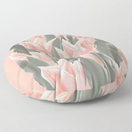 Stylish Peach Tulips Flowers Watercolor Illustration, coral pink color background. Boho style Floor Pillow