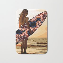 Authentic Aboriginal Art - Surfs up Australia Bath Mat