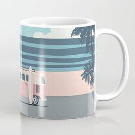 Surfer Graphic Beach Palm-Tree Camper-Van Art Coffee Mug