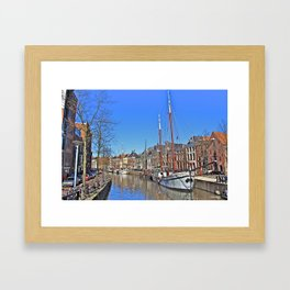 Tall Ship on the Canal Framed Art Print