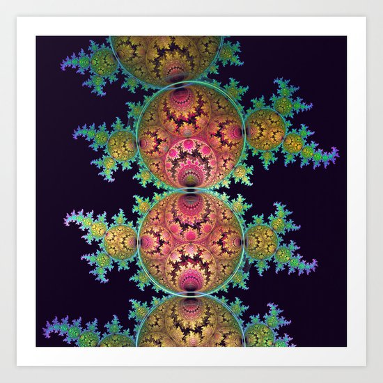 Amazing patterns in orbs and dragon spirals Art Print
