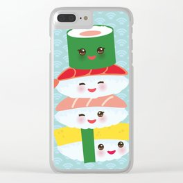 I love sushi. Kawaii funny sushi set with pink cheeks and big eyes, emoji. Blue japanese pattern Clear iPhone Case