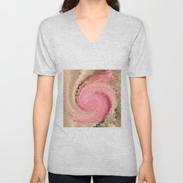 Multicolored mosaic in pink beige . Unisex V-Neck