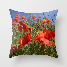 Red Poppy field Throw Pillow