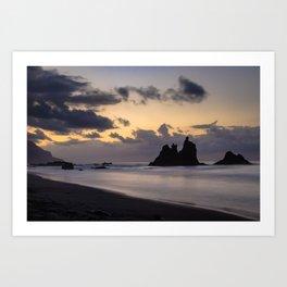 Golden Hour sunset in Benijo beach Art Print