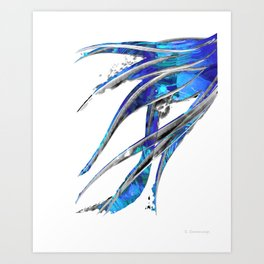 Abstract Blue And White Art - Flowing 5 - Sharon Cummings Art Print