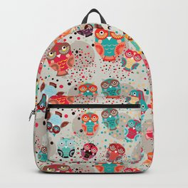 pattern with colorful owls on cream background Backpack