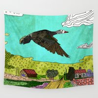 crane Wall Tapestries featuring Flying Crane by Design4u Studio