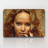 jennifer lawrence iPad Cases featuring Portrait of Jennifer Lawrence by André Joseph Martin