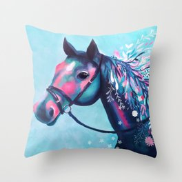 Horse with Floral Mane Throw Pillow