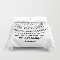 bukowski Duvet Covers featuring Charles Bukowski Typewriter Quote Circus by Fligo