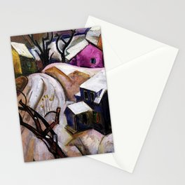 Bach Chord - Winter in a Small Town landscape painting William Sommer Stationery Cards