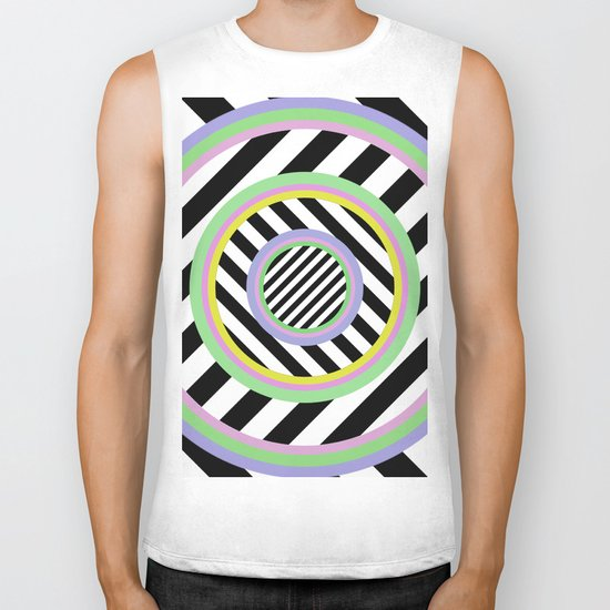 Circles, stripes and pastel colours Biker Tank