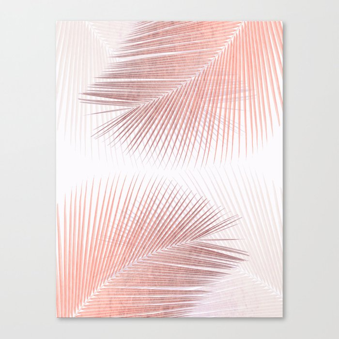 Palm Leaf Synchronicity Rose Gold Canvas Print By
