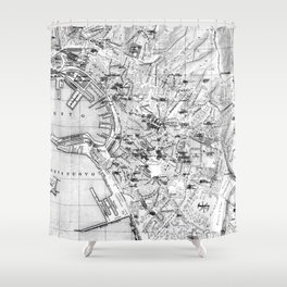 Vintage Map of Genoa Italy (1906) BW Shower Curtain