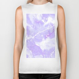 Modern abstract blush violet white marble pattern Biker Tank