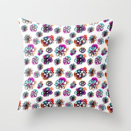 colorful fall floral Throw Pillow