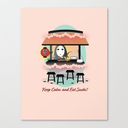 No Face Kaonashi Selling Sushi Canvas Print