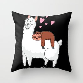 Llama animal love Throw Pillow