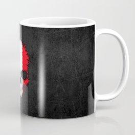 Flag of France on a Chaotic Splatter Skull Coffee Mug