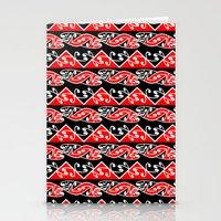 maori Stationery Cards featuring Kowhaiwhai Traditional Maori Koru Pattern by mailboxdisco