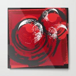 Red and Black Circles Abstract Metal Print