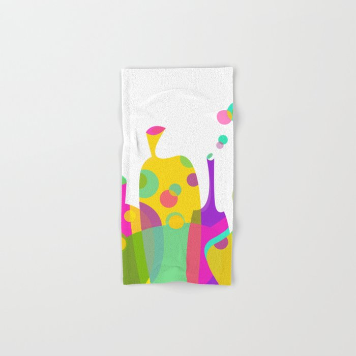 colorful funky bottle shapes i hand bath towel by graphictabby
